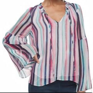 Jennifer Lopez striped peasant blouse bell sleeve